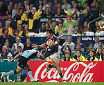 Hong Kong play Uruguay during Day 1 of the Cathay Pacific / HSBC Hong Kong Sevens 2012 at the Hong Kong Stadium in Hong Kong, China on 23rd March 2012. Photo © Manuel Queimadelos  / The Power of Sport Images