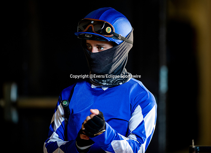AUG 23: Flavien Prat before the Del Mar Mile at Del Mar Thoroughbred Club in Del Mar, California on August 223, 2020. Evers/Eclipse Sportswire/CSM