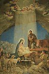 Beit Sahour, the Catholic Church at the Shepherds' Fields, a wall painting depicting the shepherds paying homage to baby Jesus