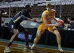 SIOUX FALLS, SD - MARCH 9: Grant Nelson #4 of the North Dakota State Bison looks to make a move against DeShang Weaver #14 of the Oral Roberts Golden Eagles during the 2021 Men's Summit League Basketball Championship at the Sanford Pentagon in Sioux Falls, SD. (Photo by Dave Eggen/Inertia)