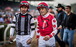 ARCADIA, CA - DECEMBER 26: Jockey Martin Pedroza and Edwin Maldonado after a race at Santa Anita Park on December 26, 2017 in Arcadia, California. (Photo by Alex Evers/Eclipse Sportswire/Getty Images)