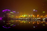 © Joel Goodman - 07973 332324 . 05/02/2012 . Salford , UK . The colourful skyline of Media City is visible through thick fog . Photo credit : Joel Goodman