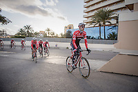 Jasper Stuyven (BEL/Trek-Segafredo) & teammates return to the team hotel after more then 6 hours on the bike & +200km's ridden<br /> <br /> Team Trek-Segafredo Training Camp <br /> january 2017, Mallorca/Spain