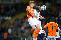 Guimaraes, Portugal - Thursday, June 6, 2019: Matthijs de Ligt header ties the game in the second half. Netherlands beat England 3-1 in overtime to reach the final of UEFA Nations League 2019 at D. Afonso Henriques Stadium in Guimaraes.