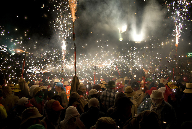 Vilafranca del Pnedes, Barcelona, Catalonia, childrens day, correfocs, people dress up in old wet cloths and dance under the fire