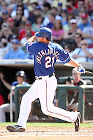 Jarrod Saltalamacchia - Texas Rangers, playing in a spring training game against the Kansas City Royals at Surprise Stadium, 03/06/2010..Photo by:  Bill Mitchell/Four Seam Images.