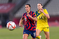 KASHIMA, JAPAN - AUGUST 5: Carli Lloyd #10 of the USWNT runs to the ball during a game between Australia and USWNT at Kashima Soccer Stadium on August 5, 2021 in Kashima, Japan.