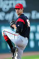 Tyler Beede (18) of the Richmond Flying Squirrels warms up in the bullpen prior to a game versus the New Hampshire Fisher Cats at Northeast Delta Dental Stadium in Manchester, New Hampshire on June 5, 2015.  (Ken Babbitt/Four Seam Images)