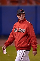Ball State Cardinals head coach Rich Maloney (2) during a game against the Wisconsin-Milwaukee Panthers on February 26, 2016 at Chain of Lakes Stadium in Winter Haven, Florida.  Ball State defeated Wisconsin-Milwaukee 11-5.  (Mike Janes/Four Seam Images)