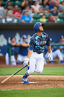 Justin Yurchak (33) of the Ogden Raptors bats against the Grand Junction Rockies at Lindquist Field on June 14, 2019 in Ogden, Utah. The Raptors defeated the Rockies 12-0. (Stephen Smith/Four Seam Images)
