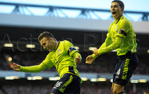 15.12.12 Liverpool, England.   Andreas Weimann of Aston Villa celebrates the second goal in action during the Premier League game between Liverpool and Aston Villa from Anfield,Liverpool