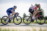 the 4-man breakaway group with the impressive 19yr old Remco Evenepoel (BEL/Deceuninck - Quick Step) as the main engine and fellow escapee Jelle Wallays (BEL/Lotto-Soudal)<br /> <br /> Belgian National Road Championships 2019 - Gent<br /> <br /> ©kramon