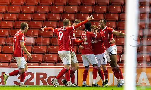 21st November 2020, Oakwell Stadium, Barnsley, Yorkshire, England; English Football League Championship Football, Barnsley FC versus Nottingham Forest; Barnsley team celebrate their opening goal after 84 minutes by Callum Styles of Barnsley
