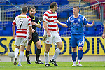 St Johnstone v Hamilton Accies...10.05.11.Mark McLaughlin remonstrates with Andy Jackson after being red carded.Picture by Graeme Hart..Copyright Perthshire Picture Agency.Tel: 01738 623350  Mobile: 07990 594431