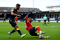 17th October 2020; Kenilworth Road, Luton, Bedfordshire, England; English Football League Championship Football, Luton Town versus Stoke City; Elliot Lee of Luton Town slides in and blocks the run made by Tommy Smith of Stoke City