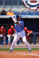 Charlotte Stone Crabs designated hitter Riley Unroe (7) at bat during a game against the Palm Beach Cardinals on April 10, 2016 at Charlotte Sports Park in Port Charlotte, Florida.  Palm Beach defeated Charlotte 4-1.  (Mike Janes/Four Seam Images)