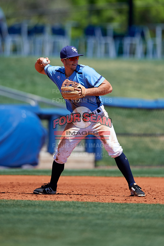 Charlotte Stone Crabs third baseman Kevin Padlo (11) throws to first base during a game against the Palm Beach Cardinals on April 12, 2017 at Charlotte Sports Park in Port Charlotte, Florida.  Palm Beach defeated Charlotte 8-7.  (Mike Janes/Four Seam Images)
