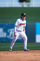 Oregon State Beavers shortstop Andy Armstrong (9) during an NCAA game against the New Mexico Lobos at Surprise Stadium on February 14, 2020 in Surprise, Arizona. (Zachary Lucy / Four Seam Images)
