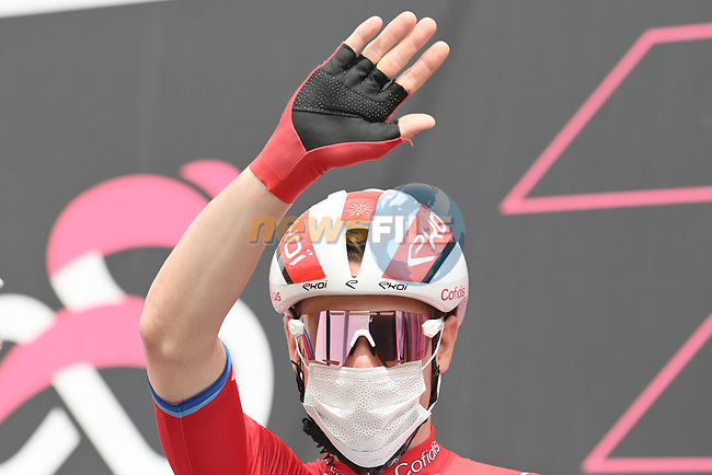 Elia Viviani (ITA) Cofidis at sign on before the start of Stage 5 of the 2021 Giro d'Italia, running 177km from Modena to Cattolica, Italy. 12th May 2021.  <br /> Picture: LaPresse/Gian Mattia D'Alberto | Cyclefile<br /> <br /> All photos usage must carry mandatory copyright credit (© Cyclefile | LaPresse/Gian Mattia D'Alberto)