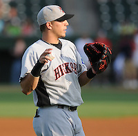 Outfielder Jake Skole (7) of the Hickory Crawdads, Class A affiliate of the Texas Rangers, prior to a game against the Greenville Drive on July 1, 2011, at Fluor Field at the West End in Greenville, South Carolina. Skole was a first-round pick in the 2010 First-Year Player Draft. (Tom Priddy/Four Seam Images)