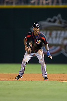 Byron Buxton (53) of the Rochester Red Wings takes his lead off of first base against the Charlotte Knights at BB&T BallPark on August 8, 2015 in Charlotte, North Carolina.  The Red Wings defeated the Knights 3-0.  (Brian Westerholt/Four Seam Images)