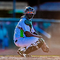 29 July 2018: Vermont Lake Monsters catcher Robert Mullen looks back to the dugout during a game against the Batavia Muckdogs at Historic Centennial Field in Burlington, Vermont. Mullen hit his first home run of the season: a game-winning 3-run dinger in the bottom of the 4th inning, as the Lake Monsters defeated the Muckdogs 4-1 in NY Penn League action. Mandatory Credit: Ed Wolfstein Photo *** RAW (NEF) Image File Available ***