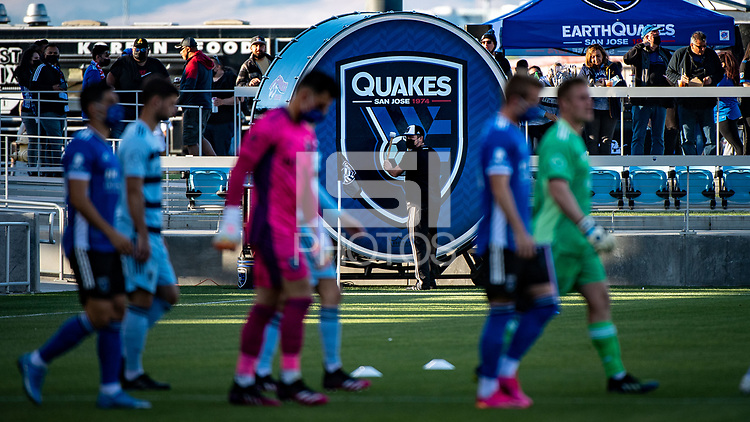 SAN JOSE, CA - MAY 22: San Jose Earthquakes players enter in front of the pitch side drum at PayPal Park before a game between San Jose Earthquakes and Sporting Kansas City at PayPal Park on May 22, 2021 in San Jose, California.