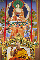 """Switzerland. Basel. St. Jakobshalle. His Holiness the Dalai Lama during his public lecture on Bodhicitta. The topic of his talk is about Nagarjuna's Commentary on Bodhicitta which touches on two aspects of the awakening mind, the twin qualities of wisdom and compassion, which are necessary for anyone who aspires to be a better person and implement changes in their lives. The 14th and current Dalai Lama is Tenzin Gyatso, recognized since 1950. He is the current Dalai Lama, as well as the longest-lived incumbent, well known for his lifelong advocacy for Tibetans inside and outside Tibet. Dalai Lamas are amongst the head monks of the Gelug school, the newest of the schools of Tibetan Buddhism. The Dalai Lama, also called """" Ocean of Wisdom"""" is considered as the incarnation of Chenresi, the Bodhisattva of compassion who is also the protective deity of Tibet. 7.02.2015 © 2015 Didier Ruef"""