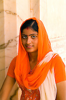 Hindu woman, Amber Fort temple, Rajasthan, Jaipur, India