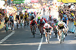 Caleb Ewan (AUS) Lotto-Soudal and Dylan Groenewegen (NED) Team Jumbo-Visma go head to head for the sprint finish of Stage 11 of the 2019 Tour de France running 167km from Albi to Toulouse, France. 17th July 2019.<br /> Picture: Colin Flockton   Cyclefile<br /> All photos usage must carry mandatory copyright credit (© Cyclefile   Colin Flockton)