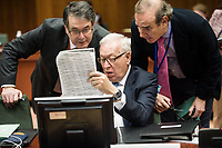 (L-R) Spanish Foreign Minister, Jose Manuel Garcia-Margallo looks at the files together with his staff   prior to the European Union Foreign Ministers Council at EU headquarters  in Brussels, Belgium on 29.01.2015 Federica Mogherini , EU High representative for foreign policy called extraordinary meeting on the situation in Ukraine after the attack on Marioupol.  by Wiktor Dabkowski