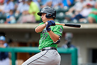 Gwinnett Stripers third baseman Austin Riley (27) follows through on a swing during a game against the Columbus Clippers on May 17, 2018 at Huntington Park in Columbus, Ohio.  Gwinnett defeated Columbus 6-0.  (Mike Janes/Four Seam Images)