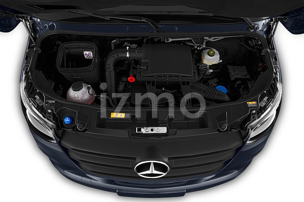 Car Stock 2019 Mercedes Benz Sprinter-Tourer Design-Line 4 Door Passanger Van Engine  high angle detail view