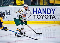 26 January 2019:  University of Vermont Catamount Defenseman Jake Massie, a Junior from St. Lazare, Quebec, in third period action against the Merrimack College Warriors at Gutterson Fieldhouse in Burlington, Vermont. The Catamounts defeated the Warriors 4-3 in overtime to take both games of their weekend America East conference series. Mandatory Credit: Ed Wolfstein Photo *** RAW (NEF) Image File Available ***