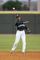 Erick Mejia of the AZL Mariners during a game against the AZL Giants at the Peoria Sports Complex on July 10, 2014 in Peoria, Arizona. AZL Giants defeated the AZL Mariners, 8-4. (Larry Goren/Four Seam Images)