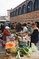 Europe/France/Midi-Pyrénées/81/Tarn/ Albi: le marché paysan devant le marché couvert