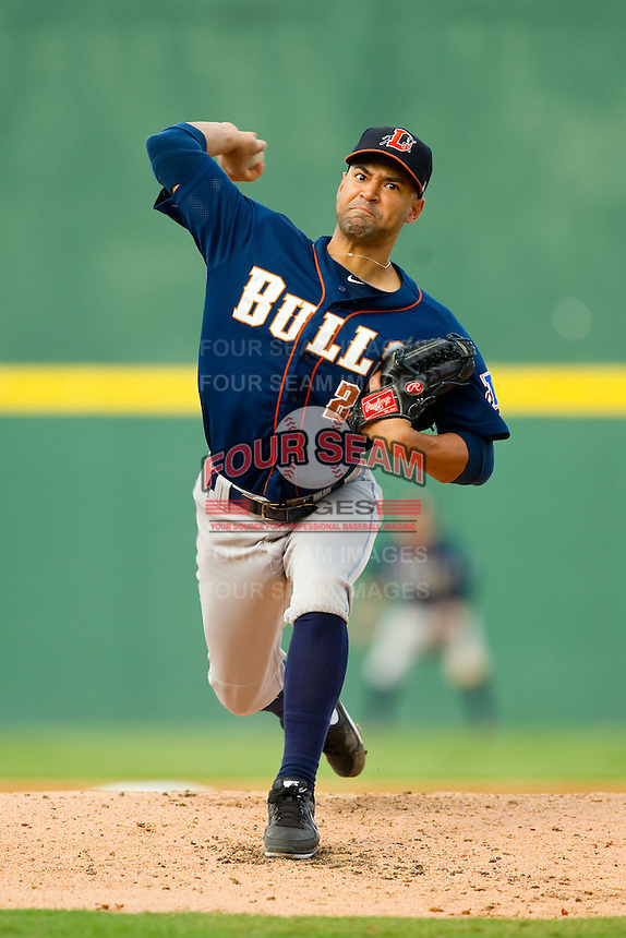 Durham Bulls starting pitcher Corey Wade (26) in action against the Charlotte Knights at Knights Stadium on August 18, 2013 in Fort Mill, South Carolina.  The Bulls defeated the Knights 5-1 in Game Two of a double-header.  (Brian Westerholt/Four Seam Images)