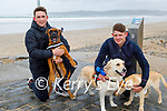 Taking Frankie, Brody and Pippa the dogs for a walk are Shane Flaherty and Kevin Cronin on Banna beach on Saturday.