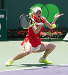 April 1 2017: Caroline Wozniacki (DEN) loses to Johanna Konta (GBR) 4-6, 3-6 at the Miami Open being played at Crandon Park Tennis Center in Miami, Key Biscayne, Florida. ©Karla Kinne/Tennisclix/Cal Sports Media