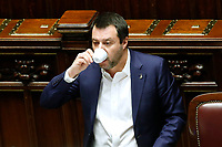 Matteo Salvini drinking a coffee<br /> Rome February 13th 2019. Lower Chamber. Ministers of Internal Affairs, of Labour and of Health at the Question Time at the Chamber of Deputies.<br /> Foto Samantha Zucchi Insidefoto