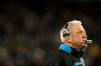 Carolina Panthers head coach John Fox looks up to the scoreboard against the Arizona Cardinals during the NFC Divisional Playoff football game at Bank of America Stadium, in Charlotte, NC. Arizona defeated the Carolina Panthers 33-13.
