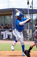 FCL Blue Jays Justin Ammons (29) bats during a game against the FCL Yankees on June 29, 2021 at the Yankees Minor League Complex in Tampa, Florida.  (Mike Janes/Four Seam Images)