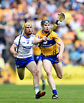 Tommy Ryan of Waterford  in action against Tony Kelly of Clare during their Munster  championship round robin game at Cusack Park Photograph by John Kelly.