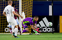 CARSON, CA - SEPTEMBER 19: David Bingham #1 GK  of the Los Angeles Galaxy waits for the ball during a game between Colorado Rapids and Los Angeles Galaxy at Dignity Heath Sports Park on September 19, 2020 in Carson, California.