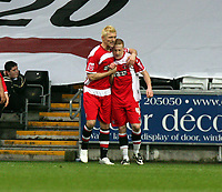 ATTENTION SPORTS PICTURE DESK<br /> Pictured: Nicky Bailey of Charlton (R) celebrating his equalizer with tema mate Darren Ward (L)<br /> Re: Coca Cola Championship, Swansea City FC v Charlton Athletic at the Liberty Stadium, Swansea, south Wales. 28 February 2009<br /> Picture by D Legakis Photography / Athena Picture Agency, Swansea 07815441513