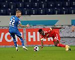 02.11.2020, PreZero-Arena, Sinsheim, GER, 1.FBL, TSG 1899 Hoffenheim vs 1.FC Union Berlin , <br /> DFL  regulations prohibit any use of photographs as image sequences and/or quasi-video.<br /> im Bild<br /> Kevin Vogt (Hoffenheim), Taiwo Awoniyi (Union Berlin)<br /> <br /> Foto © PIX-Sportfotos *** Foto ist honorarpflichtig! *** Auf Anfrage in hoeherer Qualitaet/Aufloesung. Belegexemplar erbeten. Veroeffentlichung ausschliesslich fuer journalistisch-publizistische Zwecke. For editorial use only. DFL regulations prohibit any use of photographs as image sequences and/or quasi-video.