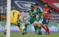 MEDELLÍN- COLOMBIA, 05-03-2021.Juan Arboleda del  Deportivo  Independiente Medellín disputa el balón con John Garcia de La Equidad durante partido por la fecha 11 entre Deportivo Independiente Medellín y La Equidad como parte de la Liga BetPlay DIMAYOR 2021 jugado en el estadio  Atanasio Girardot de la ciudad de Medellín. / Juan Arboleda of  Deportivo Independiente Medellin<br /> vies for the ball with John Garcia of La Equidad during match for the date 11 between Deportivo Independiente Medellin  and La Equidad as a part BetPlay DIMAYOR League I 2020 played at Atanasio Girardot stadium in Medellin city. Photo: VizzorImage / Luis Benavides / Contribuidor
