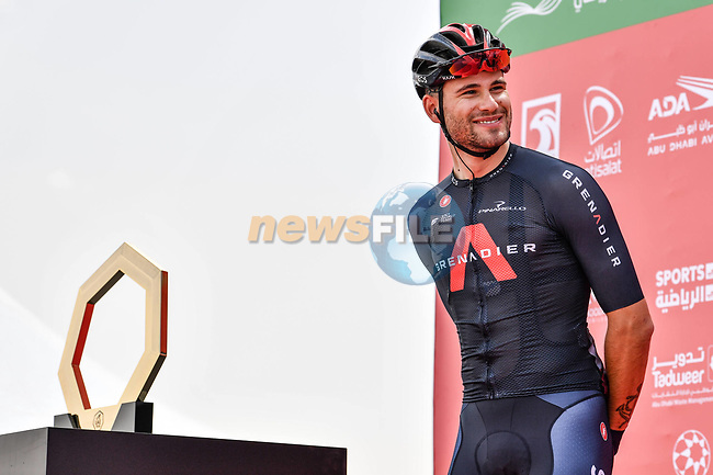 Filippo Ganna (ITA) Ineos Grenadiers at sign on before the start of Stage 1 of the 2021 UAE Tour the ADNOC Stage running 176km from Al Dhafra Castle to Al Mirfa, Abu Dhabi, UAE. 21st February 2021.  <br /> Picture: LaPresse/Gian Mattia D'Alberto | Cyclefile<br /> <br /> All photos usage must carry mandatory copyright credit (© Cyclefile | LaPresse/Gian Mattia D'Alberto)
