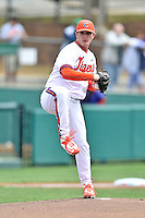 Clemson Tigers starting pitcher Matthew Crownover (44) attempts a pickoff during a game against the Notre Dame Fighting Irish during game one of a double headers at Doug Kingsmore Stadium March 14, 2015 in Clemson, South Carolina. The Tigers defeated the Fighting Irish 6-1. (Tony Farlow/Four Seam Images)