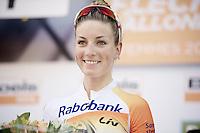 Elite Womens race winner Pauline Ferrand Prevot (FRA/Rabobank-Liv) on the podium<br /> <br /> La Flèche Wallonne 2014